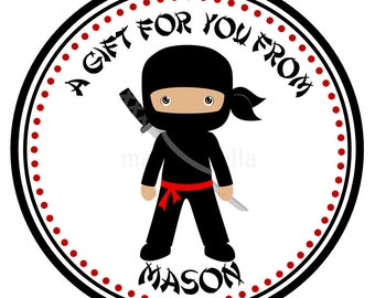 Personalized Stickers - Ninja, Gift Tags, Party Favors, Address Labels, Birthday Stickers,  Address Labels, Gift Tags, Goody Bag