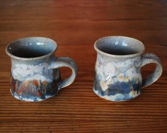 Vintage Mid Century Modern Mugs Saenger
