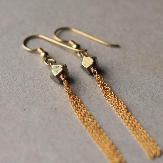 Pyrite Earrings, Pyrite Nugget Earrings, Long Dangle Earrings, Gold-Filled Tassel Earrings