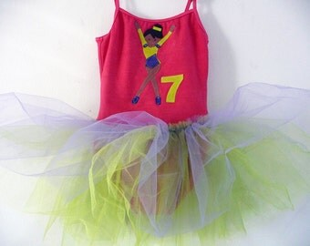 OLYMPIC GYMNAST Leotard Tutu - Birthday Tutu - Gymnastic Leoatrd - Personalized- Sizes 18/24 months, 2/4 years,4/6 years, 6/8 years and up.
