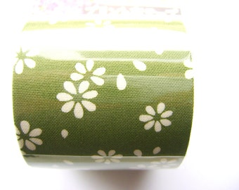 Japanese Fabric Tape  Flowers Green