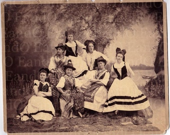 Fantastic Antique Cabinet Card:  Acting Troupe in Costume - Tannersville and Brooklyn NY