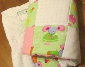 Baby Girl Quilt - Mouse - Stroller Blanket - Nursery Bedding - Baby Shower Gift - Pink - Green - Cotton Flannel - Toddler Security Blanket