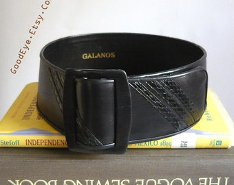Vintage GALANOS CINCH Belt  WIDE Reptile and Leather 1990s Small size 24 to 28 inch waist