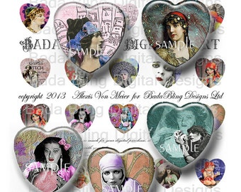 Gypsy and Fortune Tellers, digital collage sheets  of 25mm hearts INSTANT  Digital Download at Checkout