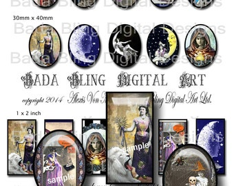 Witchy Women, Halloween Sampler...INSTANT DOWNLOAD at Checkout oval cabs 30x 40, 1 x 2 and 22 x 30 cabs