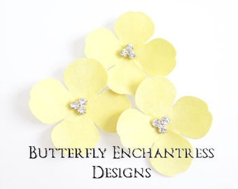 Yellow Hair Flowers, Woodland Wedding, Bridal Bridesmaid Hair Accessories - 3 Yellow Aurora Hydrangea Bobby Pins