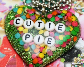 CUTIE PIE - Green Resin Candy Sprinkles Necklace