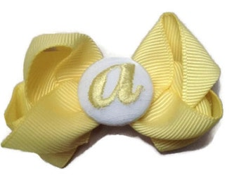 Sweet Small PERSONALIZED Monogram HAIR BOWs for Little Girls, Toddler, Newborn, Infant hairbow Hair Bows for girls velcro Yellow and White