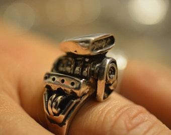 V8 Blower Hemi-Motor Ring in Sterling Silver