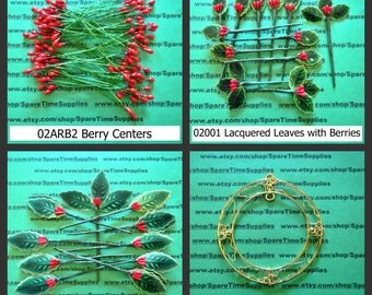 Holiday Trimmings - Holiday Ornaments - Berry Centers - Holly Leaves with Berries - Metal Holly Wreath  - 1 pkg