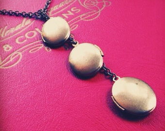 brass oval locket necklace - multiple brass lockets