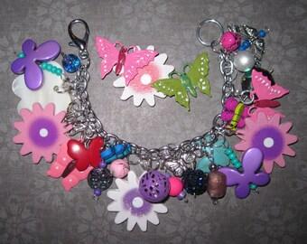 Butterflies & Flowers Charm Bracelet Summer Butterfly Jewelry Purple Pink Beads OOAK Eclectic Statement Piece Flower Bracelet Handmade Fun