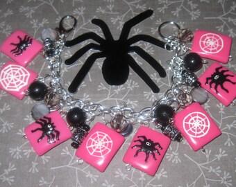 Spider Charm Bracelet Spider Bracelet Spider Web Jewelry Halloween Spider Bracelet Pink Black Silver Fun Chunky Adult Tween Teen Spooky Cute