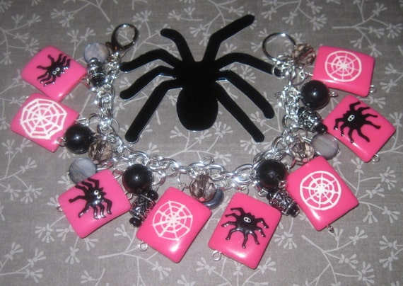 Halloween Charm Bracelet Spider Charm Bracelet Spider Web Jewelry Spider Bracelet Pink Black Silver Fun Chunky Adult Tween Teen Spooky Cute