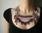 Primula Sieboldii ... Beaded Crochet Necklace - Pink Beige Green Maroon Blue - Flowers - Beadwork Statement Necklace