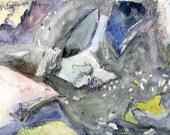 Watercolour painting  Rocks rock. // ooak / original / home  abstract  modern  wall art
