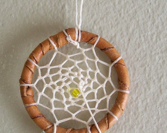 """2"""" brown dreamcatcher with white web"""