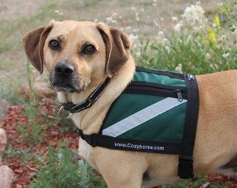 SERVICE DOG Vest - small to medium dog - Hunter Green - water proof - reflective working dog vest, therapy dog vest