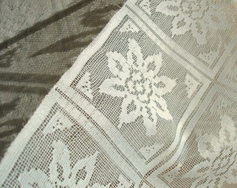 Vintage White Square Flower Lace Panels Fabric Yardage for Crafts Sewing