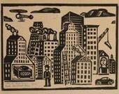 City As Muse Town woodblock print