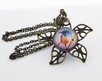 Cute Bird Perched Necklace, Vintage Bronze,  Digital Art Picture Jewelry