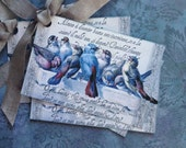 Italian BlueBird Tags- Vintage Bluebird tags, Italian Script - Set of 4