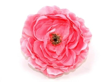 OVERSTOCK SALE: Ruffle Ranunculus in Pink - 4 inches -  Silk Flower, artificial flower, millinery. was 2.25