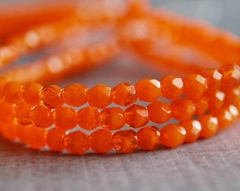 Opal Orange Czech Glass Bead 4mm Faceted Round : 50 pc 4mm Orange Bead
