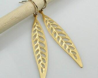 Gold Long Leaf Earrings