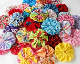 "Fabric Flowers  Roses 2"" Button 50 YoYo Birthday Party Shower Wedding Hair Bobby Pin Scrapbook Wholesale Handmade"