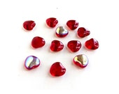 8mm Red AB Heart Beads Glass Valentine Day Czech