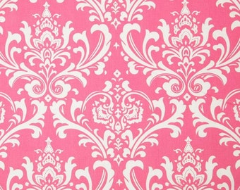 Ozborne pink and white damask valance 52 X 14