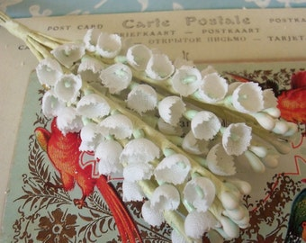 Vintage Millinery / Lily of the Valley / One Bunch / Cotton Linen Fabric / Twelve Stems / Aged White