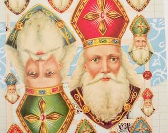 Sinterklaas / Saint Nicholas / Vintage Style / German Embossed Scrap Die Cuts / Netherlands / Vrolijk Kerstfeest