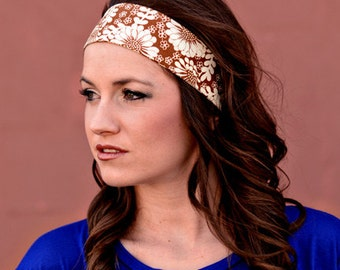 Womens Headband, Womens Head Band, Fashion Headband, Fabric Headband, Brown Headband, Brown Hairband, Brown Hair Band, Cute Floral Headband