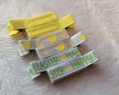 EASTER YELLOW CHICKS  Set of 6 non-slip Fully Lined alligator clip / clippies barrettes Buy 3 sets get 1 free