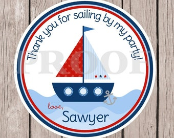 Sailboat Birthday Party Favor Tags or Stickers / Navy Blue, Pastel Blue and Red Nautical Favor Tags / Set of 12