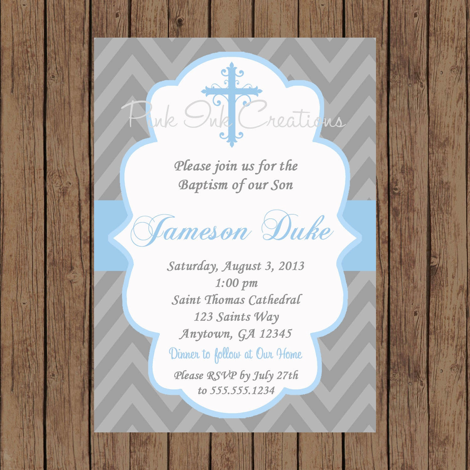 Boys Baptism Invitation / Christening Invitation / Baby