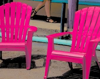 Photograph hot pink fuschia chairs home decor wall art