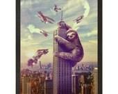 Wall Art, Sloth,  Slothzilla Print 18x24 Print