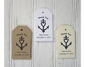 Wedding Favor Tags, Nautical Tags, Personalized, Anchor Tags, Rehearsal Dinner Tags