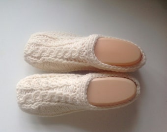 Mothers Day - Aran Hand Knit Wool Slippers with light non slip soles
