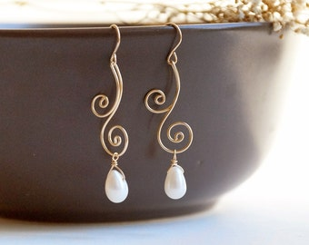 Ivory Pearl Earrings - gold bridal freshwater drop pearl, wedding, spiral, June birthday, art nouveau - Swirl