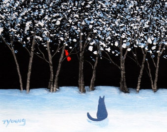 Russian Blue Cat Folk art print by Todd Young painting WINTER SONG