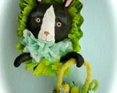 Spun Cotton Ornament  Easter - Black and White Bunny Tart Tin