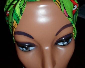 Pin-Up Rockabilly Style Hair-Head Wrap Scarf Tie Headband Made From TMNT Teenage Mutant Ninja Turtles Comic Fabric