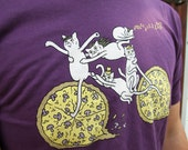 SALE Pizza. Cats. Bicycle: the shirt - unisex purple t-shirt