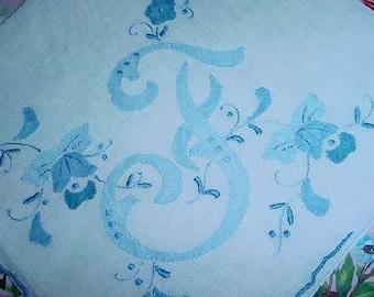 F Monogrammed Handkerchief  Hankie BLUE for Bride Madeira Style Weddings Bridesmaids