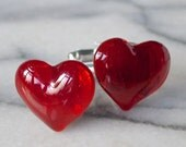 Glass Cufflinks .. Rich Blood Red Hearts  .. Silver or Gold Fittings... Gift Boxed
